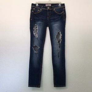 Stud Embellished Jeans Distressed Ripped Destroyed